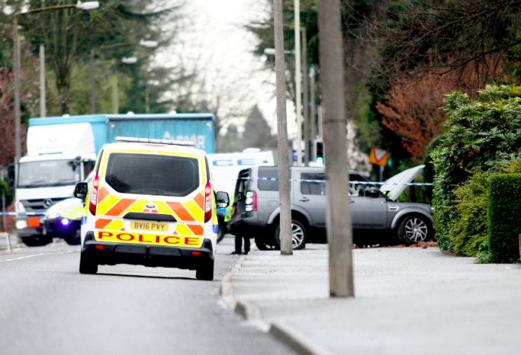 Police have sealed off the area while they investigate the stabbings (SWNS)