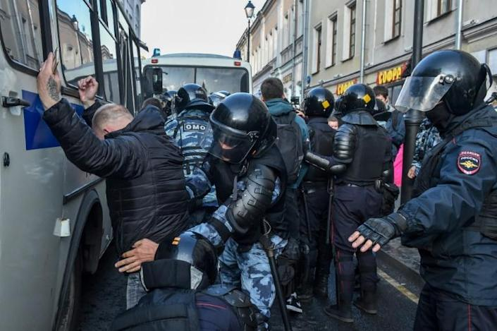 """""""It feels like the country is a prisoner and its citizens are hostages,"""" one activist, Dmitry Khobbotovsky, said (AFP Photo/Vasily MAXIMOV)"""