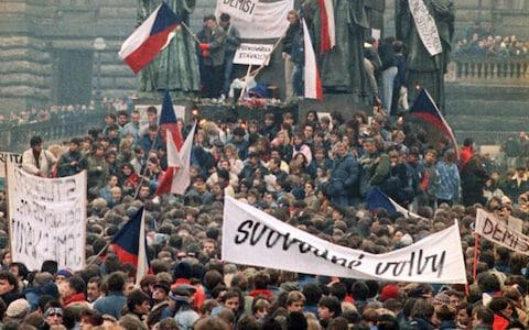 Protest in Prague during Velvet Revolution - Credit: Peter Dejong