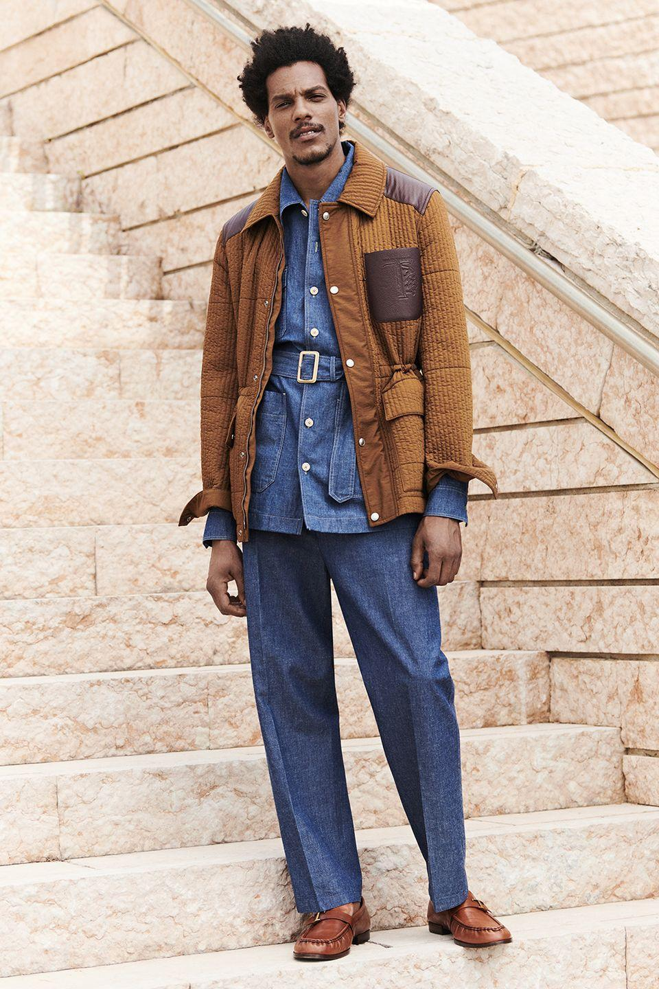 <p>For his latest menswear collection for Tod's, creative director Walter Chiapponi took inspiration from the very colour palette of Italy, which is a shrewd move. Lots of dusty, sun kissed shades and summer-beaten textures, and all realised in a collection that oscillates between sportswear, classic menswear and Riviera-wear. The highlight is this quilted jacket (with gatherable flanks), but the belted denim safari shirt underneath isn't too shabby, either. </p><p><strong>CT</strong></p>