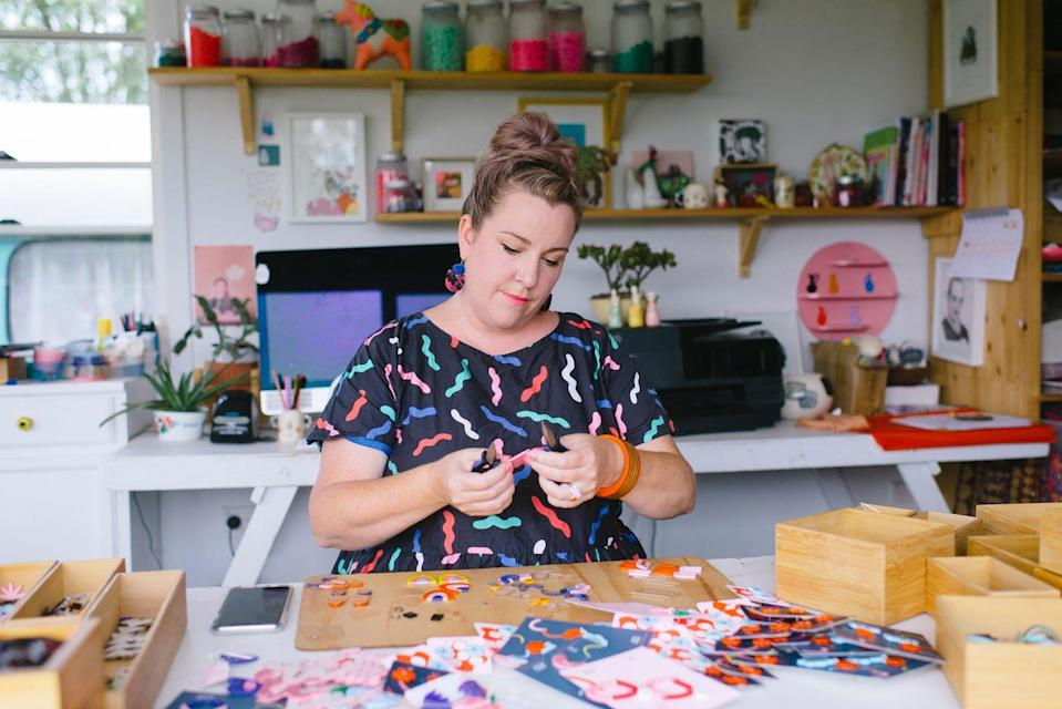 """<p>Whether you're a masterful earring maker, knitter, or painter, you can put your crafty skills to use by opening up an online store to sell your wares. Whether you decide to set up your own website or use a <a href=""""https://www.etsy.com/"""" rel=""""nofollow noopener"""" target=""""_blank"""" data-ylk=""""slk:platform like Etsy"""" class=""""link rapid-noclick-resp"""">platform like Etsy</a>, you'll be able to offer your creations and grow your customer base right from home. </p>"""