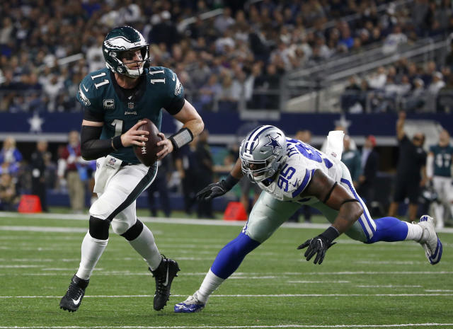 Carson Wentz had little trouble with the Cowboys. (AP)