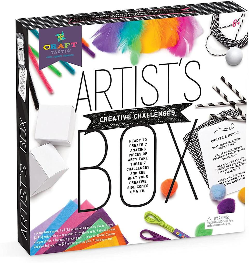 """<p>Filled with fun and unique tasks, this <a href=""""https://www.popsugar.com/buy/Craft-tastic-Inventor-Box-Arts-Crafts-Kit-568685?p_name=Craft-tastic%20Inventor%27s%20Box%20Arts%20and%20Crafts%20Kit&retailer=amazon.com&pid=568685&price=15&evar1=moms%3Aus&evar9=25997679&evar98=https%3A%2F%2Fwww.popsugar.com%2Fphoto-gallery%2F25997679%2Fimage%2F44881390%2FCraft-tastic-Inventor-Box-Arts-Crafts-Kit&list1=gifts%2Choliday%2Cgift%20guide%2Cgifts%20for%20kids%2Ckid%20shopping%2Choliday%20living%2Choliday%20for%20kids&prop13=api&pdata=1"""" class=""""link rapid-noclick-resp"""" rel=""""nofollow noopener"""" target=""""_blank"""" data-ylk=""""slk:Craft-tastic Inventor's Box Arts and Crafts Kit"""">Craft-tastic Inventor's Box Arts and Crafts Kit</a> ($15) is a great STEM choice. While the projects sound complicated, they're anything but! They're designed to build confidence and encourage kids without frustrating them.</p>"""
