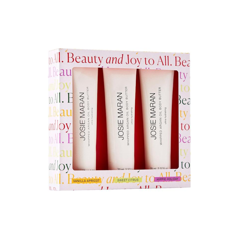 """Josie Maran's trio of body butters are great to gift friends who are hard to shop for because they can keep the scents they like, and regift the ones they don't. A win-win! $45, Josie Maran. <a href=""""https://shop-links.co/1722107468797895218"""" rel=""""nofollow noopener"""" target=""""_blank"""" data-ylk=""""slk:Get it now!"""" class=""""link rapid-noclick-resp"""">Get it now!</a>"""