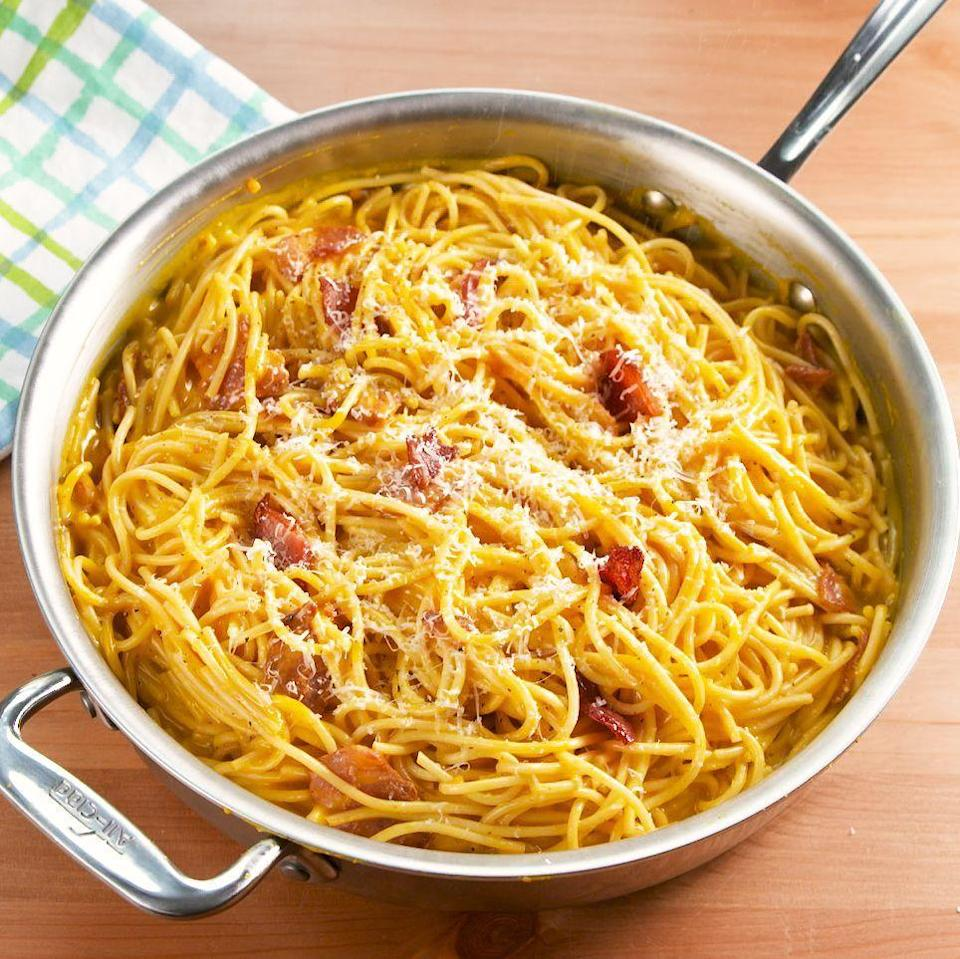 """<p>Your <a href=""""https://www.delish.com/uk/cooking/recipes/a29063446/easy-carbonara-recipe/"""" rel=""""nofollow noopener"""" target=""""_blank"""" data-ylk=""""slk:classic carbonara"""" class=""""link rapid-noclick-resp"""">classic carbonara</a> meets pumpkin for a creamy and silky pasta dish that's fall ready. The dish is quick and easy and the pumpkin bacon combo is absolutely perfect. Top it with lots of Parmesan for an extra comforting dinner! </p><p>Get the <a href=""""https://www.delish.com/uk/cooking/recipes/a34188107/pumpkin-carbonara-recipe/"""" rel=""""nofollow noopener"""" target=""""_blank"""" data-ylk=""""slk:Pumpkin Carbonara"""" class=""""link rapid-noclick-resp"""">Pumpkin Carbonara</a> recipe.</p>"""