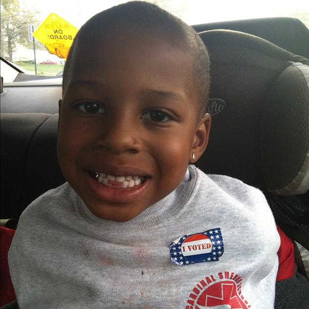 My baby voted at school! He said he voted for President Obama! #Obama #election2012 #OurFuture - @TiffyMichy, via Twitter