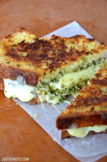 """<p>Speaking of St. Paddy's sandwich goals, we present soda bread grilled cheese with a wee bit of pesto to give it a green tinge. </p><p><a href=""""http://www.justataste.com/irish-soda-bread-grilled-cheese-with-pesto/"""" rel=""""nofollow noopener"""" target=""""_blank"""" data-ylk=""""slk:Get the recipe from Just a Taste »"""" class=""""link rapid-noclick-resp""""><em>Get the recipe from Just a Taste »</em></a><br></p>"""