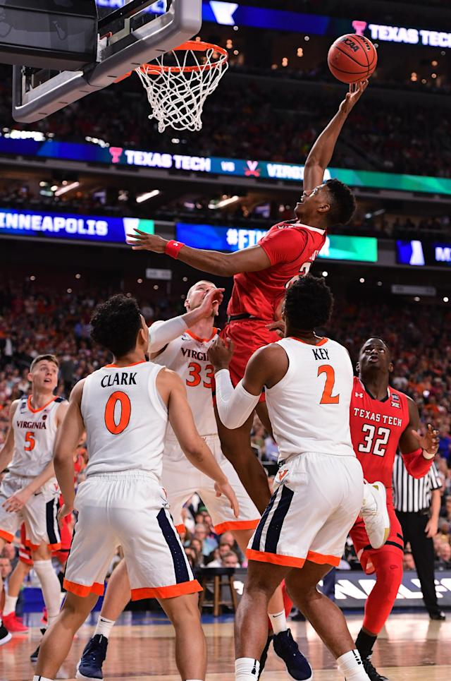 Jarrett Culver #23 of the Texas Tech Red Raiders shoots against the Virginia Cavaliers during the first half in the 2019 NCAA men's Final Four National Championship game at U.S. Bank Stadium on April 08, 2019 in Minneapolis, Minnesota. (Photo by Jamie Schwaberow/NCAA Photos via Getty Images)
