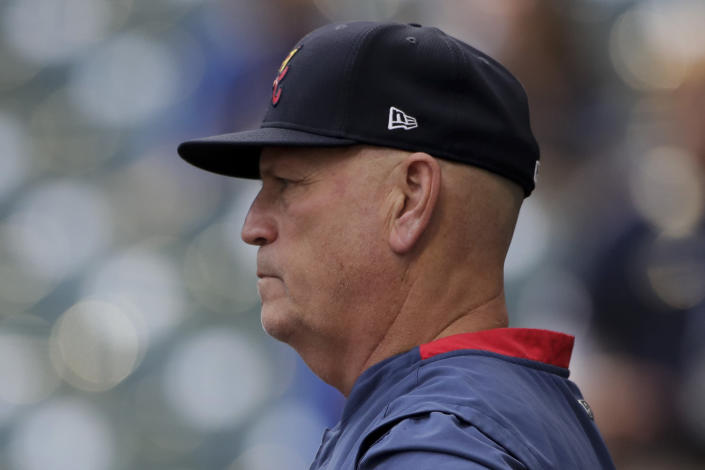 Atlanta Braves manager Brian Snitker watches batting practice before Game 2 of baseball's National League Divisional Series against the Milwaukee Brewers Saturday, Oct. 9, 2021, in Milwaukee. (AP Photo/Aaron Gash)