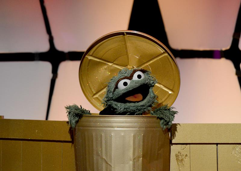 BEVERLY HILLS, CA - JUNE 23: Oscar the Grouch speaks onstage during The 39th Annual Daytime Emmy Awards broadcasted on HLN held at The Beverly Hilton Hotel on June 23, 2012 in Beverly Hills, California. (Photo by Michael Buckner/WireImage) 22542_004_0818.JPG