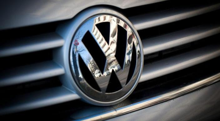 the Volkswagen logo displayed on the grille of a car