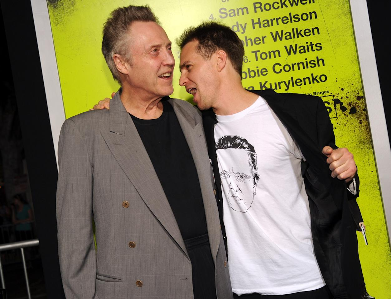 "WESTWOOD, CA - OCTOBER 01:  Actors Christopher Walken (L) and Sam Rockwell arrive at the premiere of CBS Films' ""Seven Psychopaths"" at Mann Bruin Theatre on October 1, 2012 in Westwood, California.  (Photo by Kevin Winter/Getty Images)"