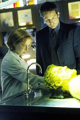"After applying fingerpainting powder, Scully (Gillian Anderson, L) and Mulder (David Duchovny, top) observe the invisible body of Leslie Stokes (William Sasso, bottom) in the ""Je Souhaite"" episode of Fox's The X-Files X-Files"