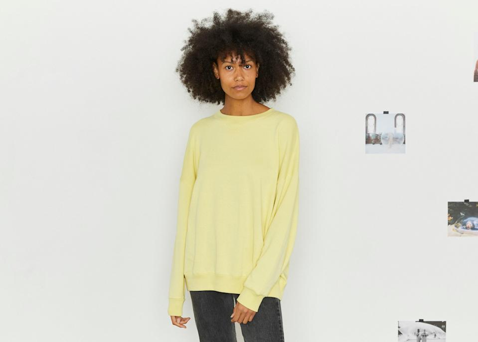 """<p>The Giant Sweatshirt from Entireworld is kitten-soft and oversized for maximum comfort. It's made with a breathable blend of organic cotton and recycled polyester. If you're not into a matchy-matchy sweatsuit look, grab a pair of the <a href=""""https://click.linksynergy.com/deeplink?id=MZ9491VLjxM&mid=44356&u1=AllureCozyLoungewear&murl=https%3A%2F%2Ftheentireworld.com%2Fwomen%2Fproduct%2Fsweatpants-womens-type-c-version-4-navy"""" rel=""""nofollow noopener"""" target=""""_blank"""" data-ylk=""""slk:Brushed Sweatpants"""" class=""""link rapid-noclick-resp"""">Brushed Sweatpants</a> in contrasting navy color. It's made from the same material to bring your next level lounging full circle. </p> <p><strong>Sizes available:</strong> XS to XL</p> <p><strong>$88 each</strong> (<a href=""""https://click.linksynergy.com/deeplink?id=MZ9491VLjxM&mid=44356&u1=AllureCozyLoungewear&murl=https%3A%2F%2Ftheentireworld.com%2Fwomen%2Fproduct%2Fsweatpants-womens-type-c-version-4-grey-melange"""" rel=""""nofollow noopener"""" target=""""_blank"""" data-ylk=""""slk:Shop Now"""" class=""""link rapid-noclick-resp"""">Shop Now</a>) </p>"""