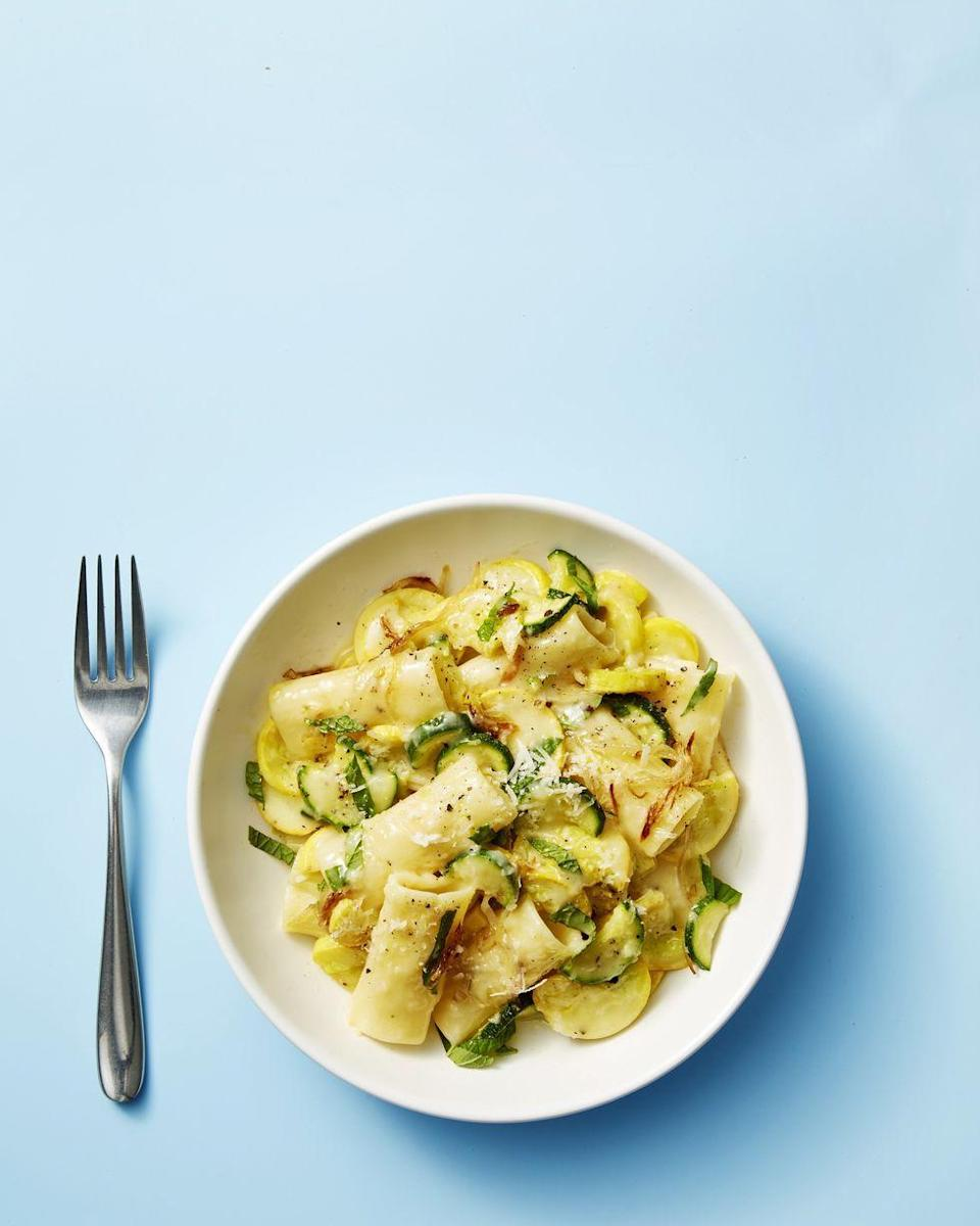"""<p>Squash, mint, and lemon juice lighten up this fresh summer pasta made in under 30 minutes for the perfect weeknight meal.</p><p><em><a href=""""https://www.goodhousekeeping.com/food-recipes/easy/a28468059/summer-squash-mint-and-pecorino-pasta-recipe/"""" rel=""""nofollow noopener"""" target=""""_blank"""" data-ylk=""""slk:Get the recipe for Summer Squash, Mint, and Pecorino Pasta »"""" class=""""link rapid-noclick-resp"""">Get the recipe for Summer Squash, Mint, and Pecorino Pasta »</a></em><br></p>"""