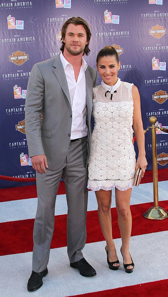 "<a href=""http://movies.yahoo.com/movie/contributor/1809982254"">Chris Hemsworth</a> and <a href=""http://movies.yahoo.com/movie/contributor/1804504141"">Elsa Pataky</a> at the Los Angeles premiere of <a href=""http://movies.yahoo.com/movie/1810026349/info"">Captain America: The First Avenger</a> on July 19, 2011."