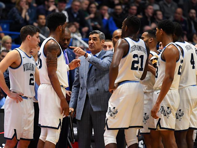 Mar 21, 2019; Hartford, CT, USA; Villanova Wildcats head coach Jay Wright talks with his players during the second half of a game against the St. Mary's Gaels in the first round of the 2019 NCAA Tournament at XL Center. Mandatory Credit: Robert Deutsch-USA TODAY Sports