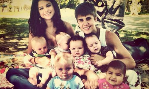Back when they were loved up teens Justin & Selena posted this pic of themselves surrounded by a million babies to Twitter. Probably not the BEST example to set for their hordes of young fans.....   PICS: Romantic Celeb Gestures