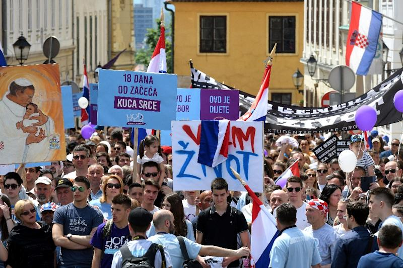 "People take part in the ""March for Life"", Croatia's fourth annual anti-abortion march in Zagreb on Saturday"