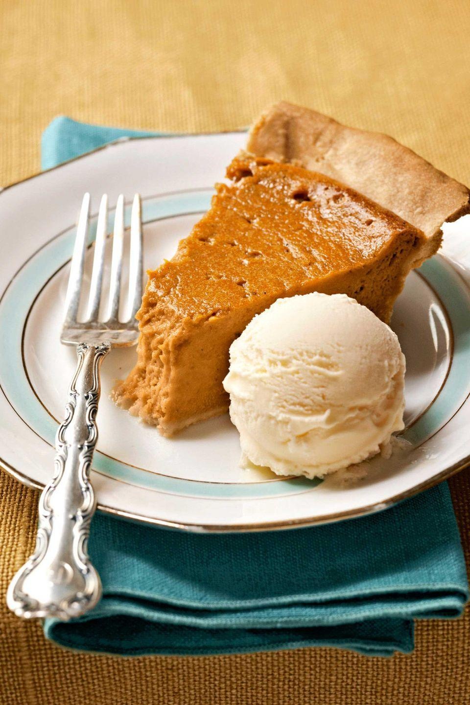 """<p>This ethereal adaptation of conventional sweet-potato pie relies on fresh lemon juice and buttermilk for its tangy, crowd-pleasing flavor.</p><p><strong>Recipes:</strong></p><p><strong><a href=""""https://www.countryliving.com/food-drinks/recipes/a3072/sweet-potato-pie-recipe-clv1109/"""" rel=""""nofollow noopener"""" target=""""_blank"""" data-ylk=""""slk:Sweet-Potato Pie"""" class=""""link rapid-noclick-resp"""">Sweet-Potato Pie</a></strong></p><p><strong><a href=""""https://www.countryliving.com/food-drinks/recipes/a3068/buttermilk-ice-cream-recipe/"""" rel=""""nofollow noopener"""" target=""""_blank"""" data-ylk=""""slk:Buttermilk Ice Cream"""" class=""""link rapid-noclick-resp"""">Buttermilk Ice Cream</a></strong></p>"""