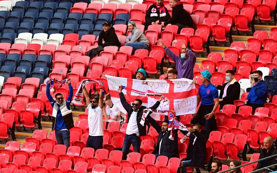 Fans in the crowd at Wembley - Pool/EPA
