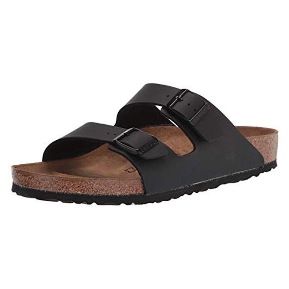 """<p><strong>Birkenstock</strong></p><p>amazon.com</p><p><strong>$87.10</strong></p><p><a href=""""https://www.amazon.com/dp/B000MSW134?tag=syn-yahoo-20&ascsubtag=%5Bartid%7C2139.g.36007474%5Bsrc%7Cyahoo-us"""" rel=""""nofollow noopener"""" target=""""_blank"""" data-ylk=""""slk:BUY IT HERE"""" class=""""link rapid-noclick-resp"""">BUY IT HERE</a></p><p>Summer is right around the corner (believe it or not!), so we're just going to say it now: <a href=""""https://www.menshealth.com/style/a32619231/jason-momoa-mens-birkenstock-sandals-clogs-cool/"""" rel=""""nofollow noopener"""" target=""""_blank"""" data-ylk=""""slk:Birkenstocks are the only sandals that guys need"""" class=""""link rapid-noclick-resp"""">Birkenstocks are the only sandals that guys need</a>. First of all, they are <em>stylish</em>. I know what you're thinking, but I swear it's true. They look good on, well, everyone, and pair well with literally <em>anything</em> in your summer wardrobe. But they're also tough as nails and insanely comfortable (albeit after a few weeks of breaking them in). Note that the price varies based on your choice of leather and color—there are lots of options! </p>"""