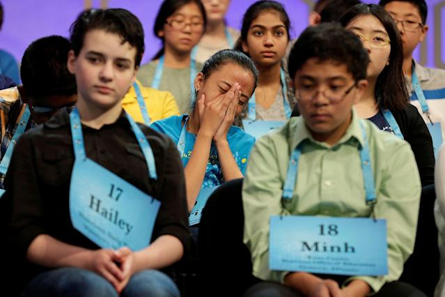 <p>Avril Regis, 14, of Pago Pago, American Samoa, stifles a yawn during the 2017 Scripps National Spelling Bee at National Harbor in Oxon Hill, Md., May 31, 2017. (Joshua Roberts/Reuters) </p>