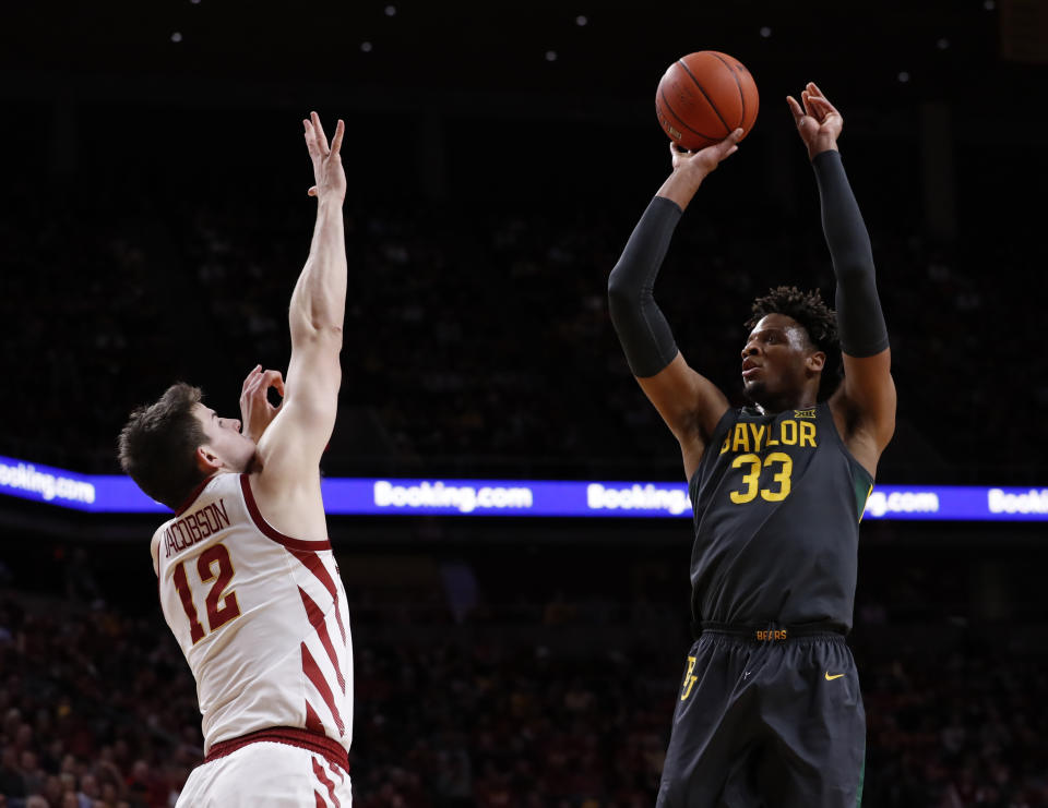 AMES, IA - JANUARY 29: Freddie Gillespie #33 of the Baylor Bears takes a shot as Michael Jacobson #12 of the Iowa State Cyclones blocks in the first half of the game at Hilton Coliseum on January 29, 2020 in Ames, Iowa. (Photo by David Purdy/Getty Images)