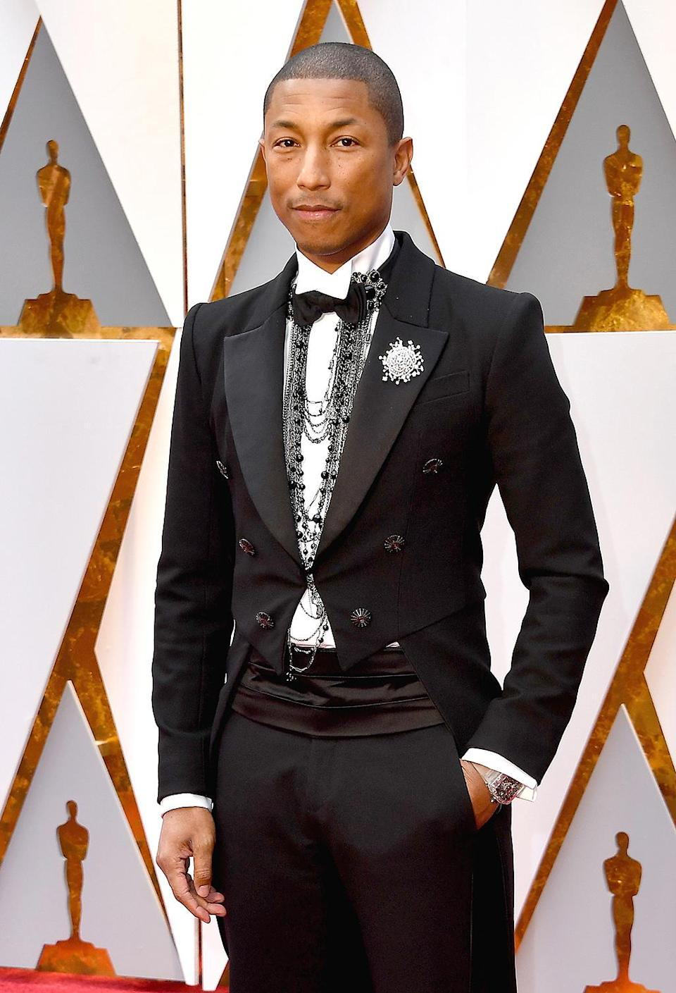 <p>Musician Pharrell Williams attends the 89th Annual Academy Awards at Hollywood & Highland Centeron Feb. 26, 2017. (Photo by Steve Granitz/WireImage) </p>