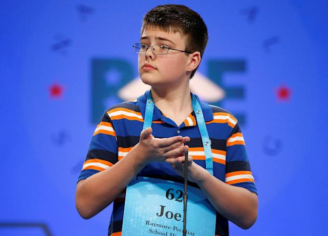 <p>Joel Miles, 14, of Greenwood, Missouri, spells a word during the 2017 Scripps National Spelling Bee at National Harbor in Oxon Hill, Maryland, U.S., May 31, 2017. (Joshua Roberts/Reuters) </p>