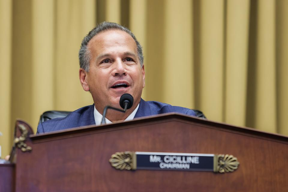 Representative David Cicilline a Democrat from Rhode Island and chairman of the House Judiciary Subcommittee on Antitrust, Commercial and Administrative Law, speaks during a hearing in Washington, D.C., U.S., on Wednesday, July 29, 2020. (Graeme Jennings/Washington Examiner/Bloomberg via Getty Images)