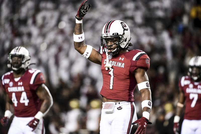 South Carolina defensive back Jaycee Horn (1) celebrates a stop during the first half of an NCAA college football game against Vanderbilt, Saturday, Nov. 2, 2019, in Columbia, S.C. (AP Photo/Sean Rayford)