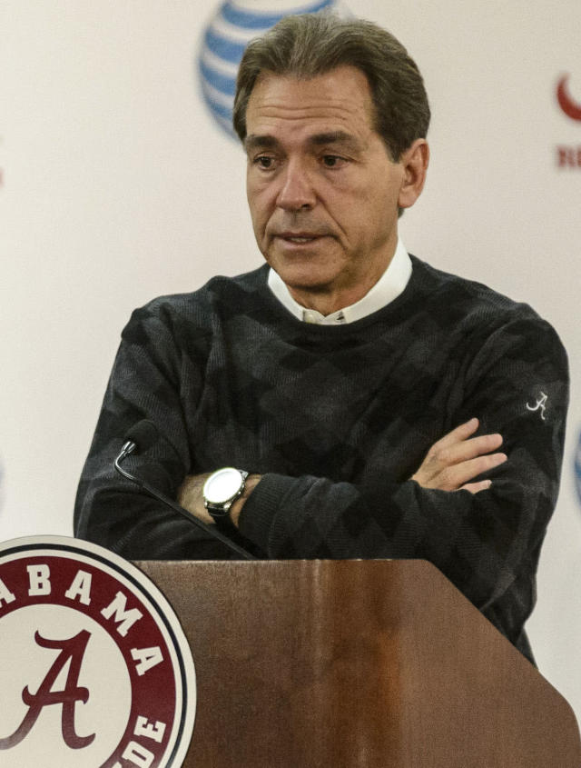 Alabama NCAA college football coach Nick Saban speaks at a press conference Monday, Nov. 25, 2013 in Tuscaloosa, Ala. No college football team is more accustomed to rampant hype than No. 1 Alabama. Sure, the Iron Bowl against No. 4 Auburn is huge, but Nick Saban's team has faced 20 top 10 opponents over the past six years and beaten 16 of them. (AP Photo/Alabama Media Group, Vasha Hunt)