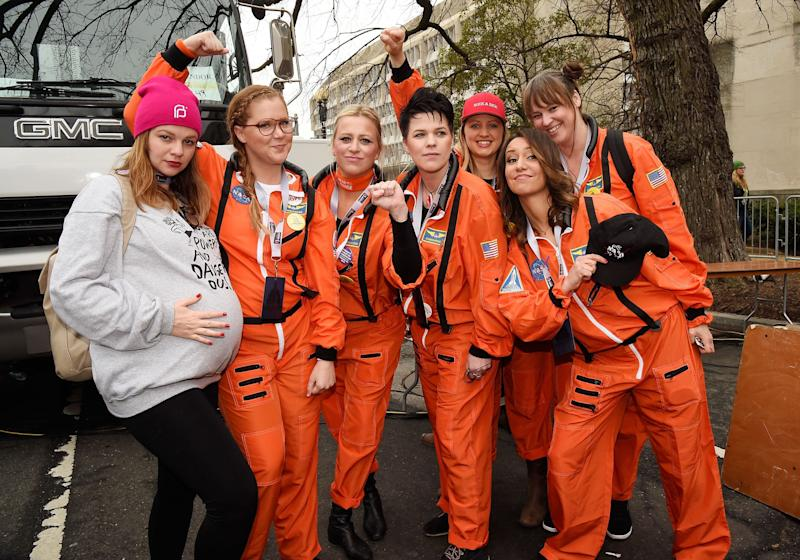 Amber Tamblyn, Amy Schumer and guests attend the rally at the Women's March on Washington, DC.