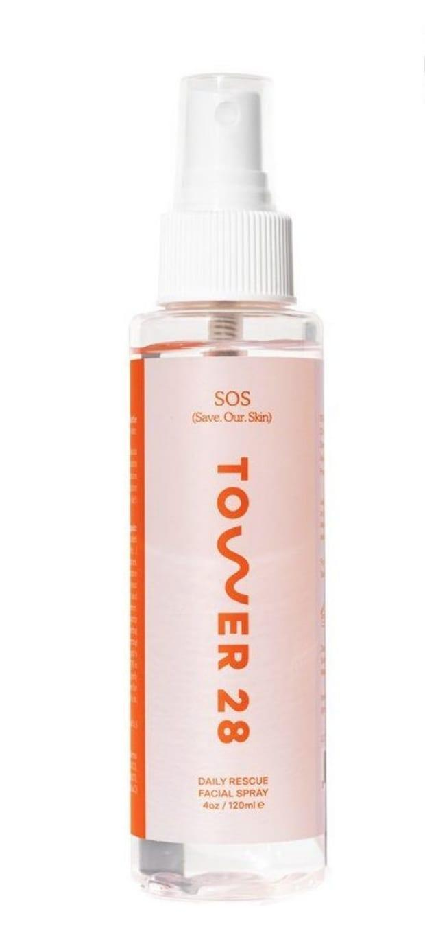 """<p>Tower 28 SOS Daily Rescue Facial Spray, $28, <a href=""""https://shop-links.co/1746870816292037788"""" rel=""""nofollow noopener"""" target=""""_blank"""" data-ylk=""""slk:available here"""" class=""""link rapid-noclick-resp"""">available here</a>.</p>"""