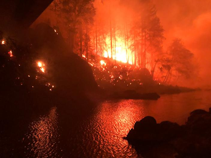 Don Myron, of Elkhorn, took these photos of the Beachie Creek Fire in the Little North Santiam Canyon the evening of Monday, Sept. 7, and morning of Tuesday, Sept. 8. He took them while sheltering along the Little North Fork.