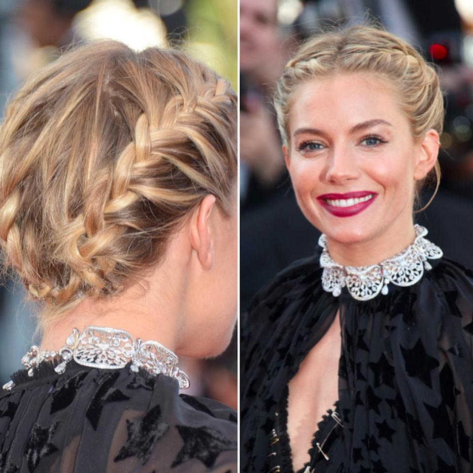 """<p>This look is ideal for short hair on your wedding day because it's """"up and elegant while still having a whimsical, undone texture,"""" says Richman. The updo complements dresses with a high neck or a statement necklace like Sienna Miller's.</p> <p>Start styling by blow-drying your hair with a center part. """"Do not over smooth your hair as flyaways and texture is what makes this look,"""" Richman notes. Create a Dutch braid on each side and secure with an elastic. Then, use a <a href=""""https://www.allure.com/gallery/best-dry-texture-sprays?mbid=synd_yahoo_rss"""" rel=""""nofollow noopener"""" target=""""_blank"""" data-ylk=""""slk:dry texture spray"""" class=""""link rapid-noclick-resp"""">dry texture spray</a> throughout the braids as you use your finger tips to loosen them. Fold the ends of the braids under and pin if necessary so there's no obvious beginning or end point. If you're into flowers, weave some baby's breath or other delicate blooms into the braids to finish it off. </p>"""