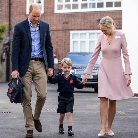Prince George on his first day at school in September 2017 - Credit: PA