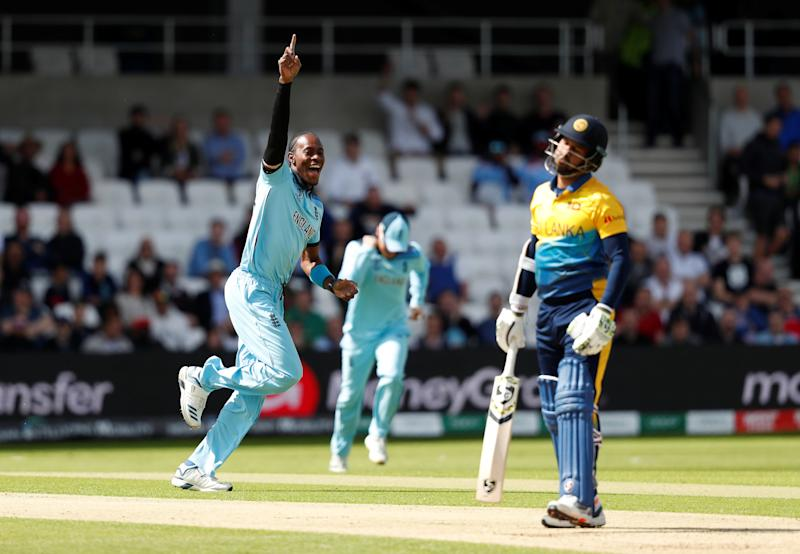 Cricket - ICC Cricket World Cup - England v Sri Lanka - Headingley, Leeds, Britiain - June 21, 2019 England's Jofra Archer celebrates the wicket of Sri Lanka's Dimuth Karunaratne Action Images via Reuters/Lee Smith