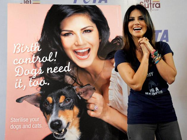 Canadian-born Indian actress Sunny Leone poses during a promotional event for the People for the Ethical Treatment of Animals (PETA) in Mumbai on January 10, 2013. AFP PHOTO/STR