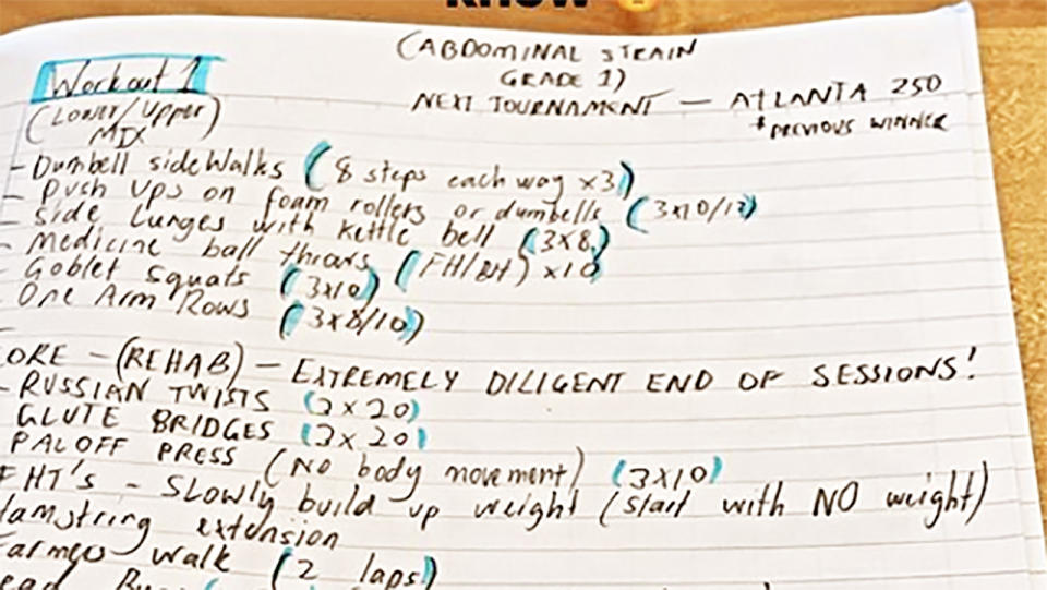 Nick Kyrgios' notes, pictured here saying his next tournament is the Atlanta Open.