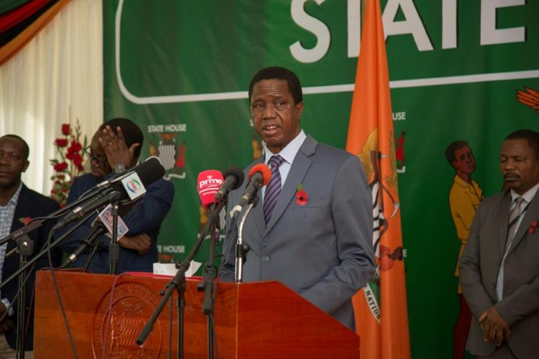 Zambian President Edgar Lungu (pictured during a November 2019 press briefing)  made the appeal in a telephone call with his Chinese counterpart Xi Jinping