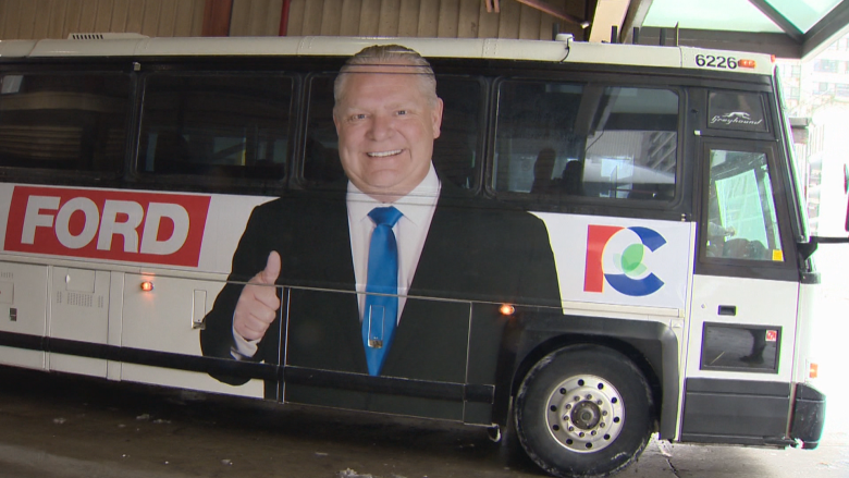 Doug Ford unveils campaign bus, 'For The People' slogan