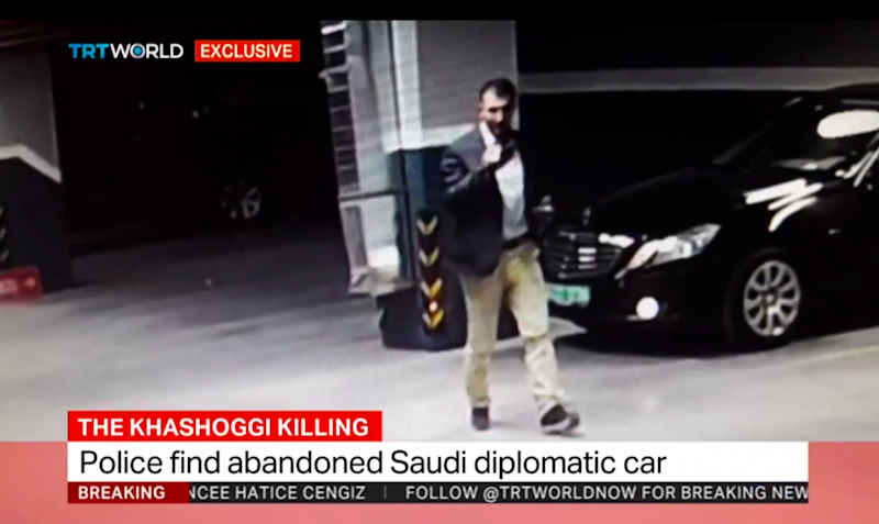 Still from Turkey's state-owned TRT shows mysterious man parking and leaving a Saudi consular vehicle in underground garage park on Istanbul's outskirts. (TRT)