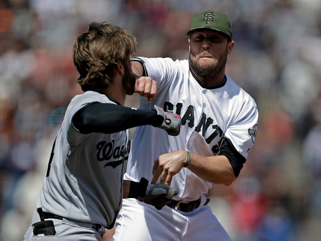 Bryce Harper Ejected for Throwing Helmet, Punches at Pitcher Who Beaned Him