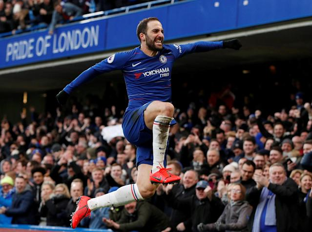 Gonzalo Higuain's performance against Huddersfield had Chelsea jumping for joy. (Reuters)