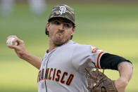 San Francisco Giants starting pitcher Kevin Gausman delivers during the first inning of a baseball game against the Pittsburgh Pirates in Pittsburgh, Friday, May 14, 2021. (AP Photo/Gene J. Puskar)