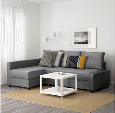 """This three-seater sectional transforms into a double bed with pull out drawers and even has storage space for extra sheets. <a href=""""https://fave.co/2ZxiQCl"""" target=""""_blank"""" rel=""""noopener noreferrer"""">Find it for $600 at IKEA.</a>"""