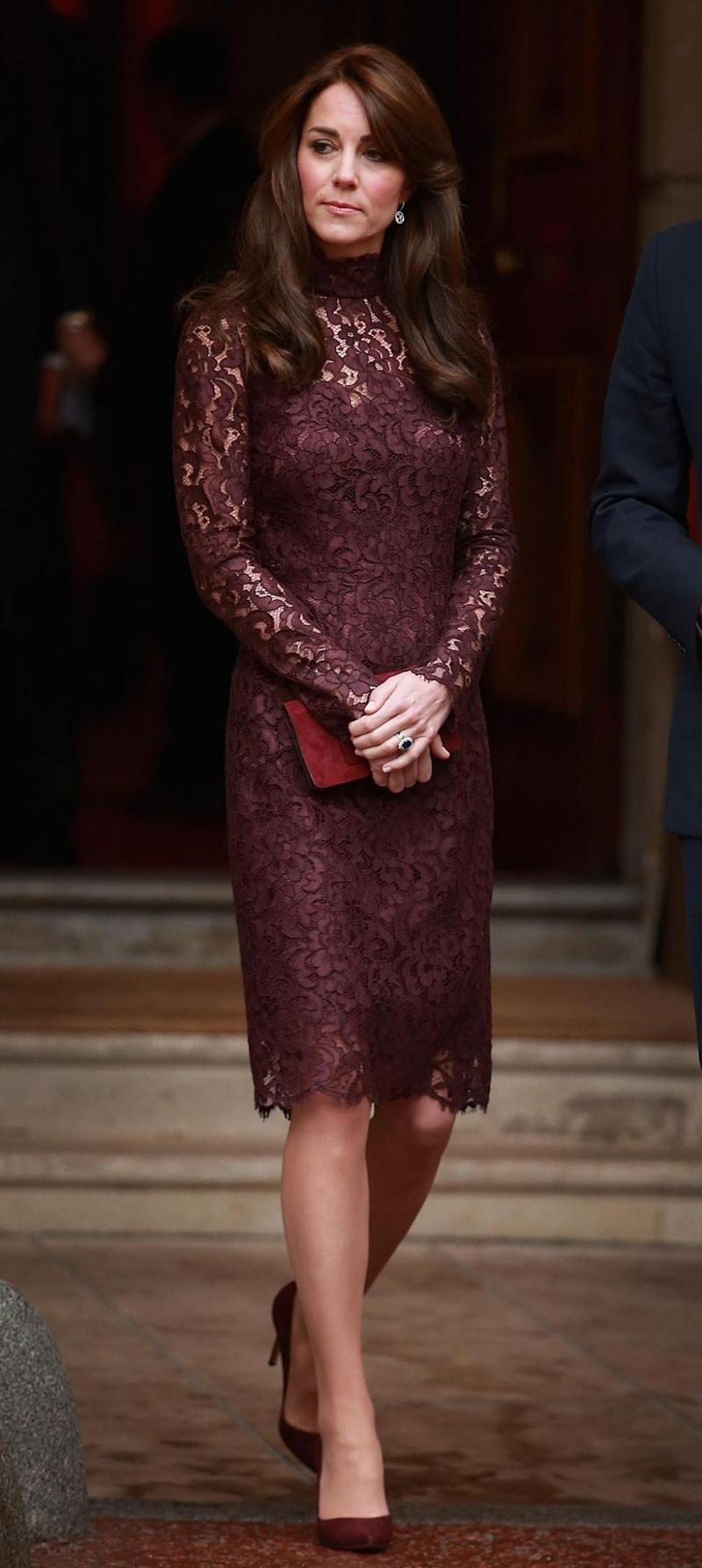 Back in October 2015 Kate wore this purple lace Dolce & Gabbana knee-length dress. Photo: Getty.