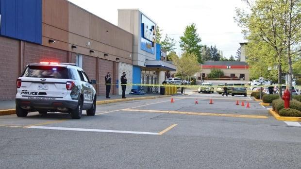 Shoppers inside a Walmart in Delta on 72nd Avenue at 120th Street say they were locked inside the store as a shooting incident took place outside on Saturday May 1, 2021 around 5 p.m. PT. (Shane MacKichan - image credit)
